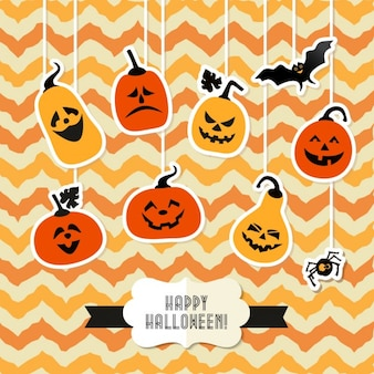 Halloween background with orange pumpkins