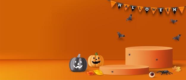 Фон хэллоуина с подиумом, тыквами, пауками и летучими мышами для продвижения продукта. вектор
