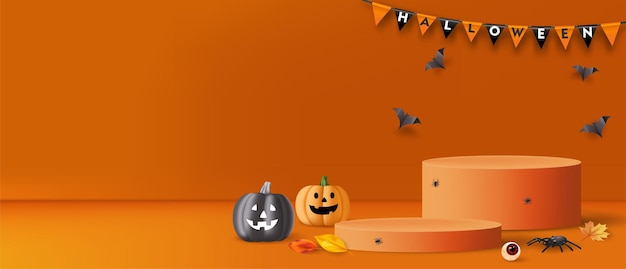 Halloween background with podium, pumpkins, spiders and bats for product promotion. vector