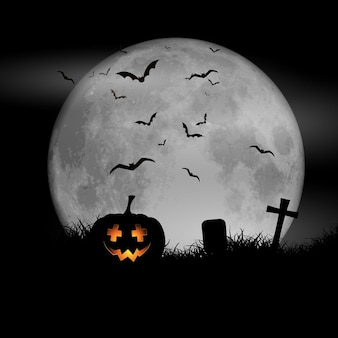 Halloween background with pumpkin against a moonlit sky