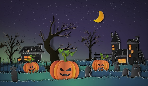 Halloween background with pumpkin for background paper cut style