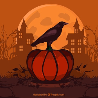 Halloween background with pumpkin and crow