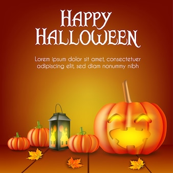 Halloween background with pumpkin and lamp