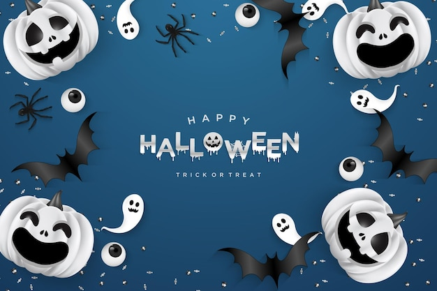 Halloween background with pumpkin and little ghost