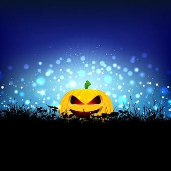 Halloween background with pumpkin nestled in grass