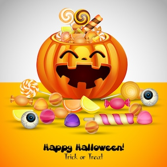 Halloween background with pumpkins basket and candies