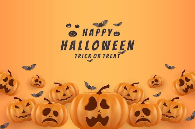 Halloween background with pumpkins and bats at the bottom