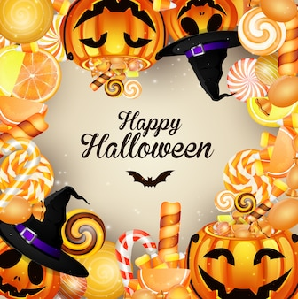 Halloween background with pumpkins and candies