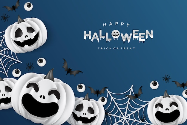 Halloween background with pumpkins and cobwebs