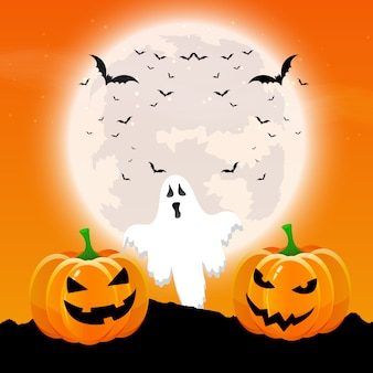 Halloween background with pumpkins and ghost in a moonlit landscape