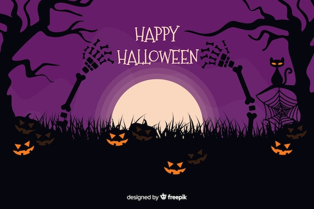 Halloween background with pumpkins on a purple night