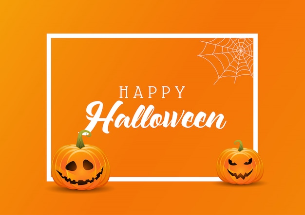 Halloween background with pumpkins on a white frame