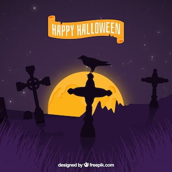 Halloween background with raven and tombstones