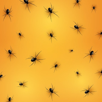 Halloween background with a realistic spiders pattern