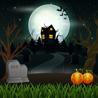 Halloween background with scary house in the full moon