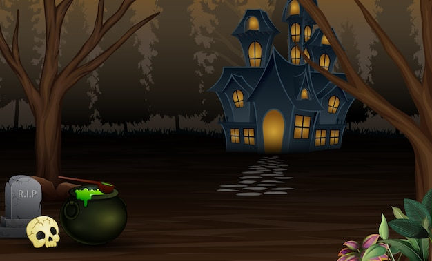 Halloween background with scary house in the night