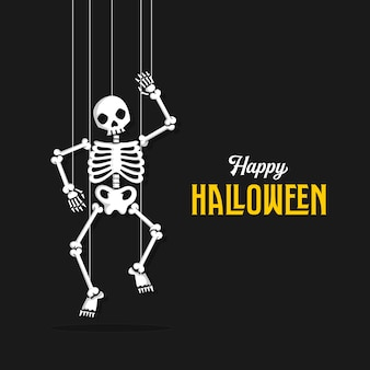 Halloween background with skull and rope