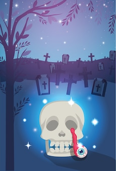 Halloween background with skull in the graveyard