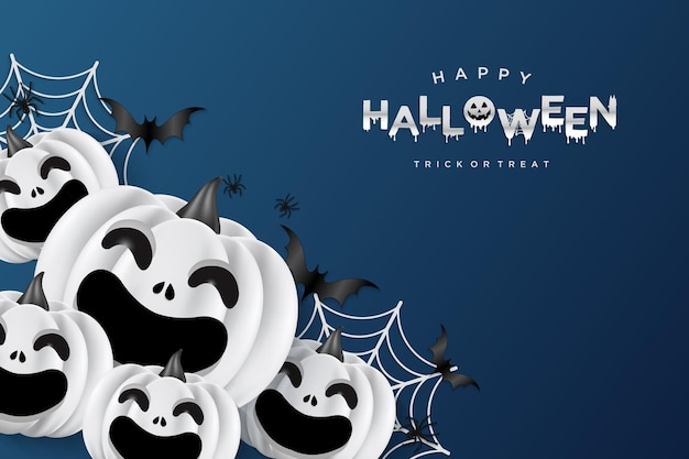 Halloween background with smiling pumpkin and cobweb behind it
