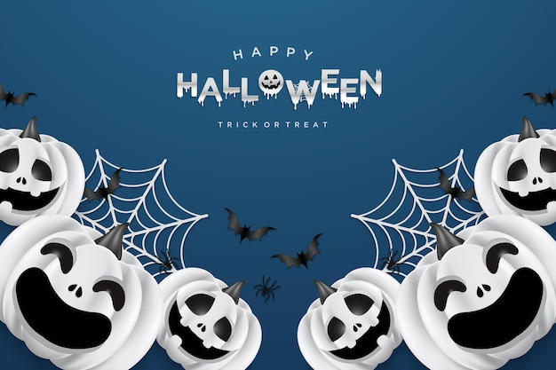 Halloween background with smiling pumpkins and cobwebs