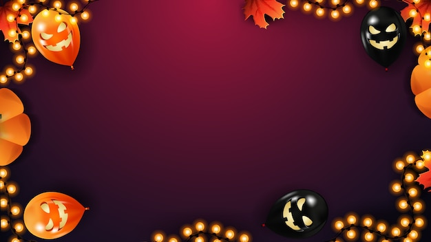 Halloween background  with space for text. template with halloween balloons, garland and autumn leaves on pink background.