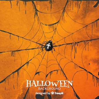 Halloween background with spider web in watercolor