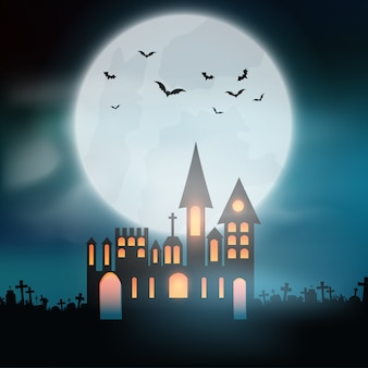Halloween background with spooky castle in graveyard
