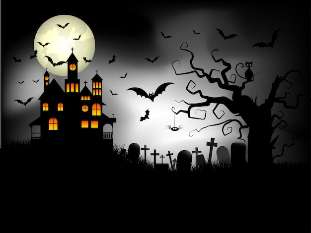 Halloween background with spooky house against a moonlit sky and bats