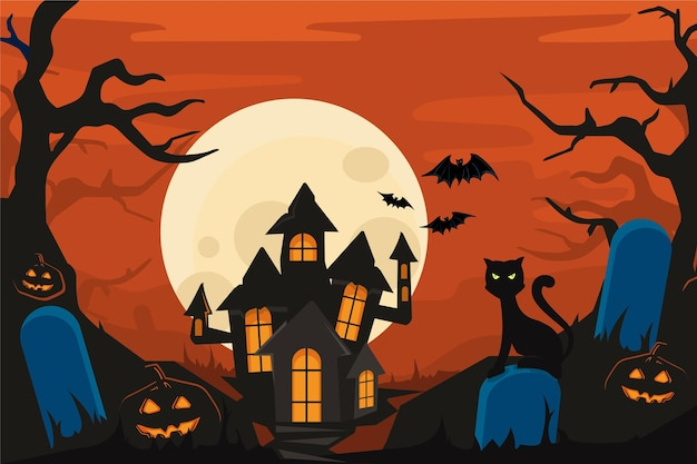 Halloween background with spooky house