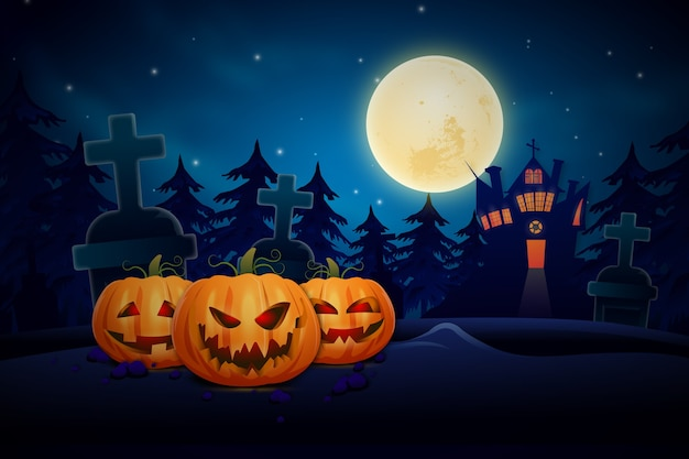 Halloween background with spooky pumpkin
