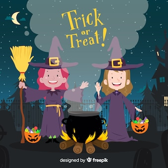Halloween background with two witches