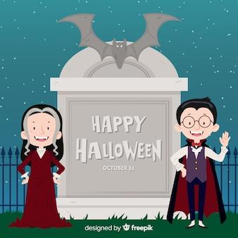 吸血鬼のカップルとハロウィーンの背景