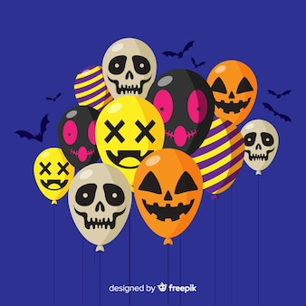 Halloween background with various balloons