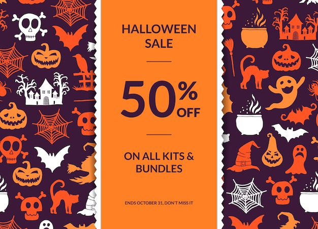 Halloween background with vertical decorative ribbon