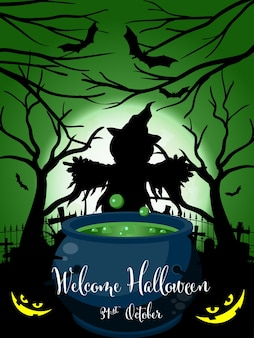 Halloween background with welcome halloween text.