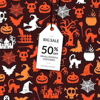 Halloween background with white sale tag