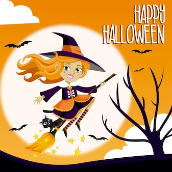 Halloween background with witch and blackcat