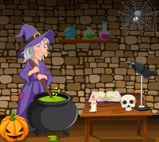 Halloween background with witch stirring magic potion