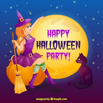Halloween background with a witch wearing a purple dress and a black cat