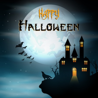 Halloween background with wolf and creepy home on scary hill
