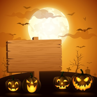 Halloween background with a wooden sign. vector illustration