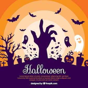 Halloween background with zombie and ghosts