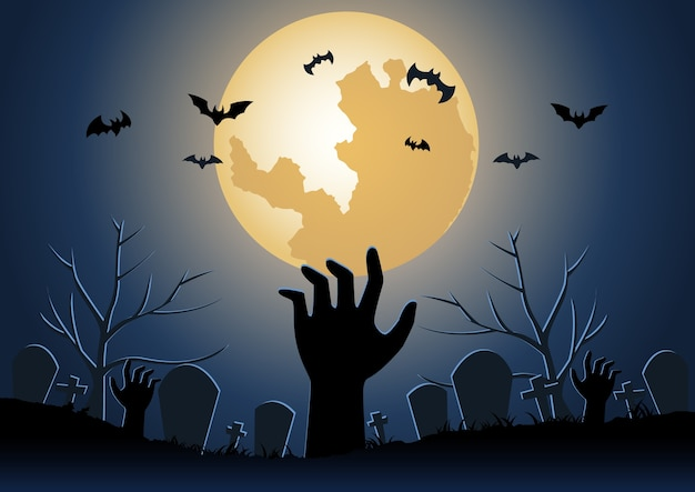Фон хэллоуина с поднятием руки зомби из преисподней