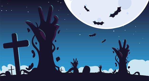 Halloween background with zombie hands on cemetery and full moon