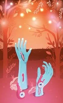 Halloween background with zombie hands