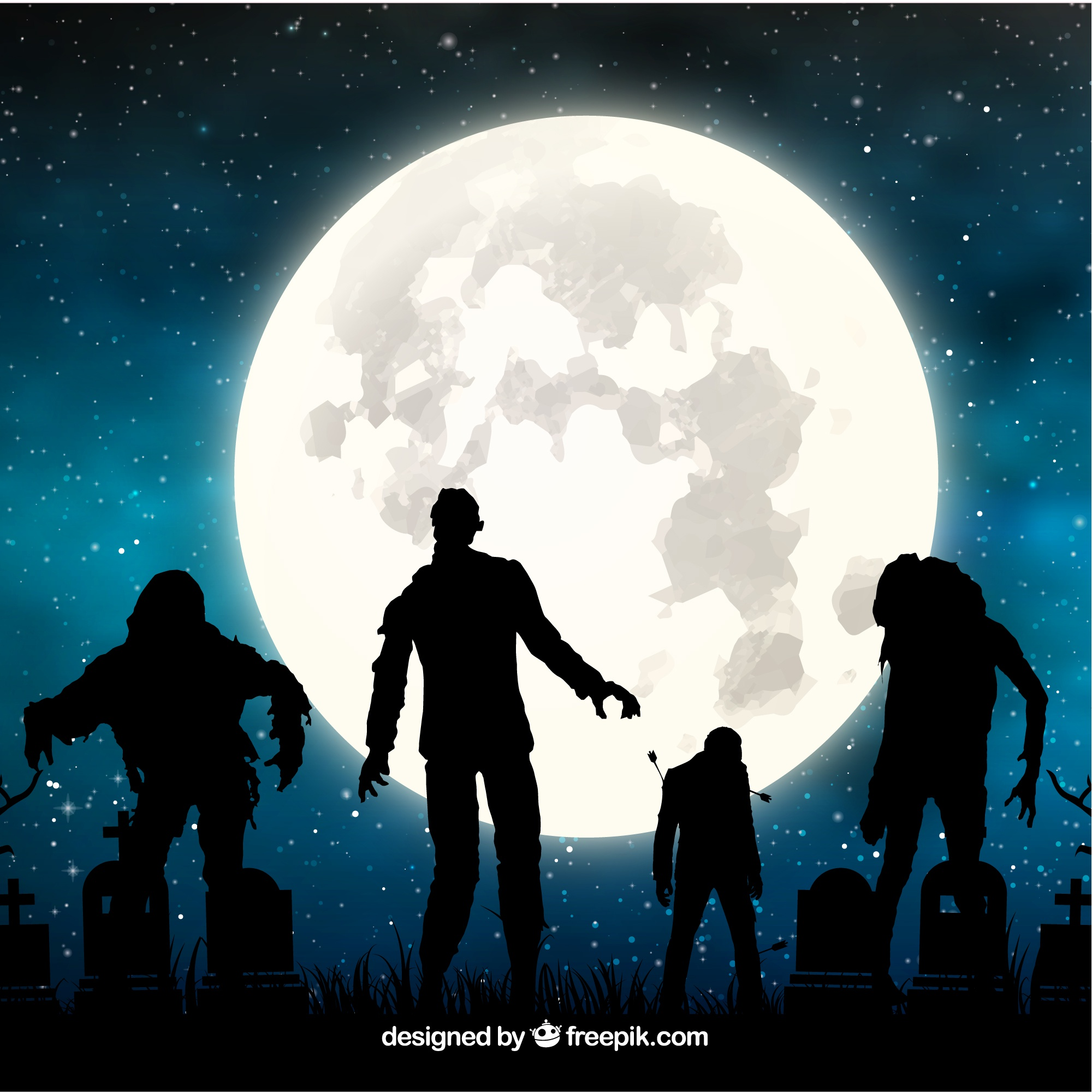 Halloween background with zombies and full moon