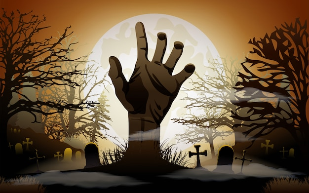 Halloween background. zombie hand