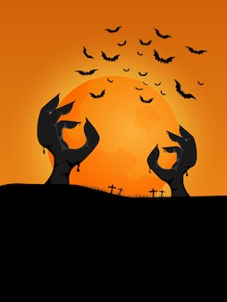 Halloween background zombie hands rising from ground in graveyard