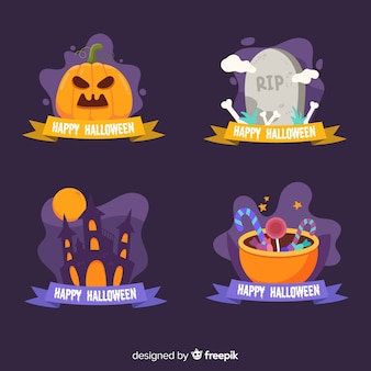 Halloween badge collection on blue background