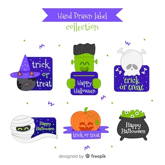 Halloween badge collection in hand drawn style